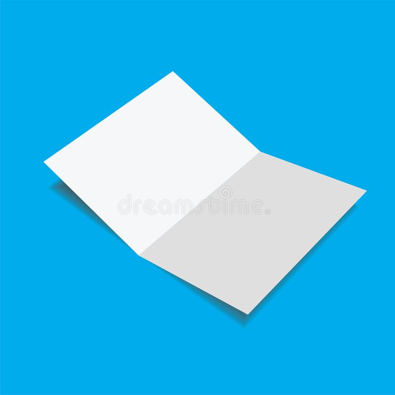 Close up of a blank folded leaflet white paper. With shadow  on blue background - Image, Vector stock illustration