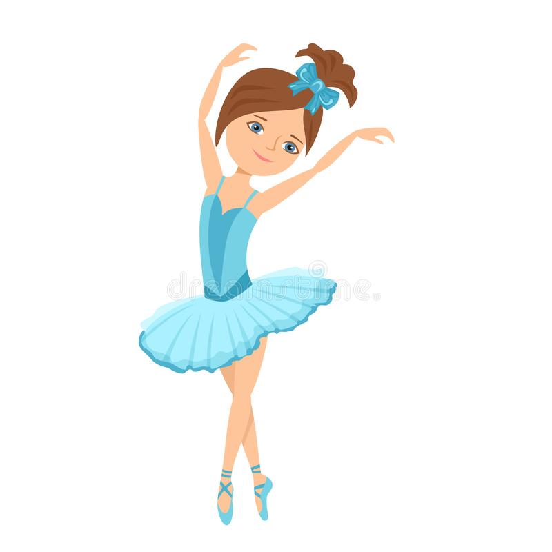 Ballerina in blue dress. Vector illustration of a dancing child in cartoon flat style. stock illustration
