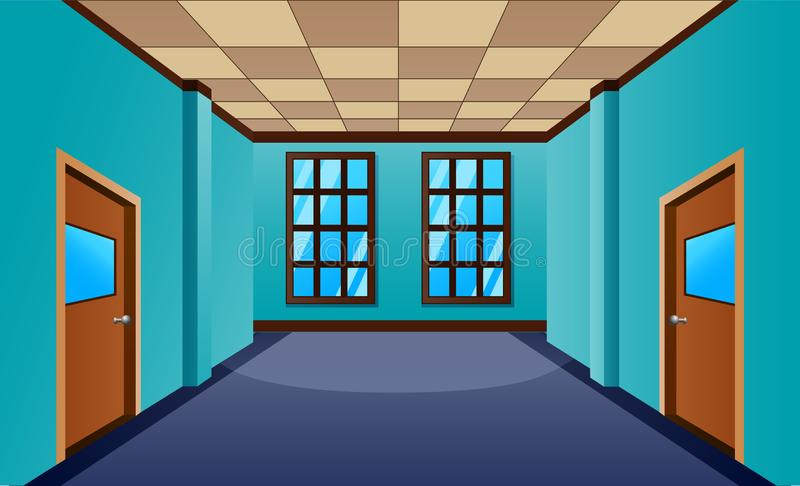Cartoon school hallway with window and many doors stock illustration