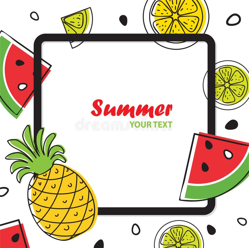 Summer bright fruit background with pineapple, slices of orange vector illustration
