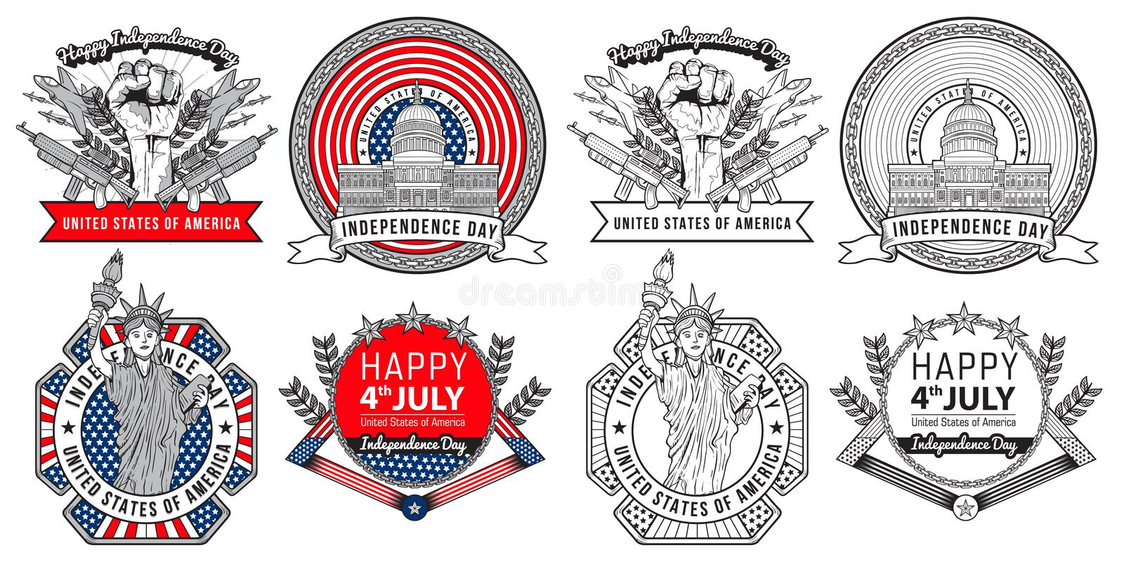 Label and logo design forth of july united states independence day greeting illustration. Easy to edit color stock illustration