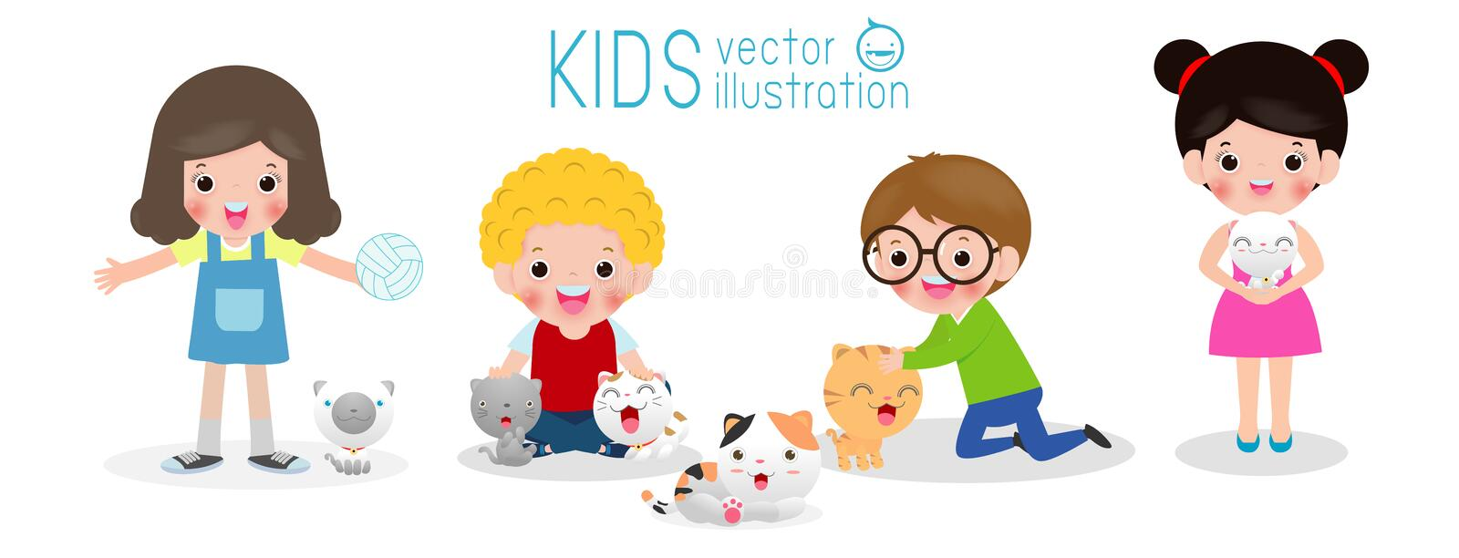 Happy children with a cat, set of kids and kitten, boy and girl with kitty, cartoon style, isolated on white background vector stock illustration
