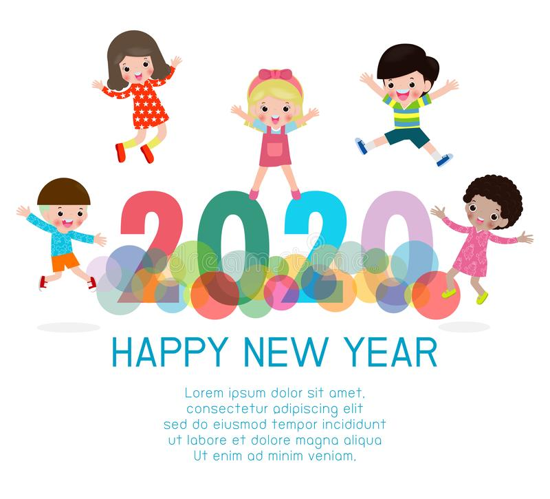 2020 Happy New Year design card with kids on background. happy children with Happy new year 2020, Colorful Vector Illustration. 2020 Happy New Year design card vector illustration
