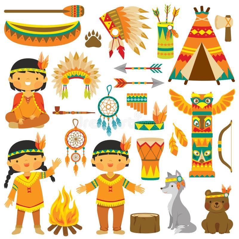Native American clip art set royalty free illustration