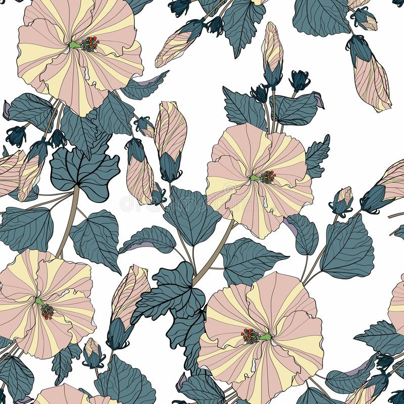 Flower pattern. Large flowers of hibiscus, various plants, leaves, buds form continuous lines. Dark pastel colors: beige, green, blue. White background stock illustration