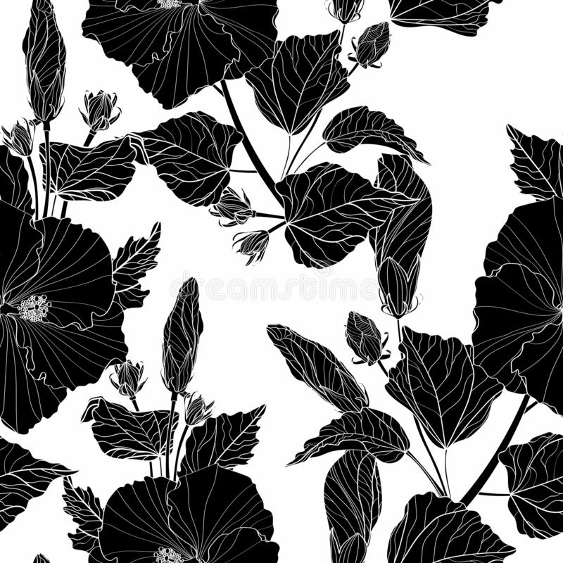 Black hibiscus - flowers and buds. Seamless white background pattern. Wallpaper. stock illustration