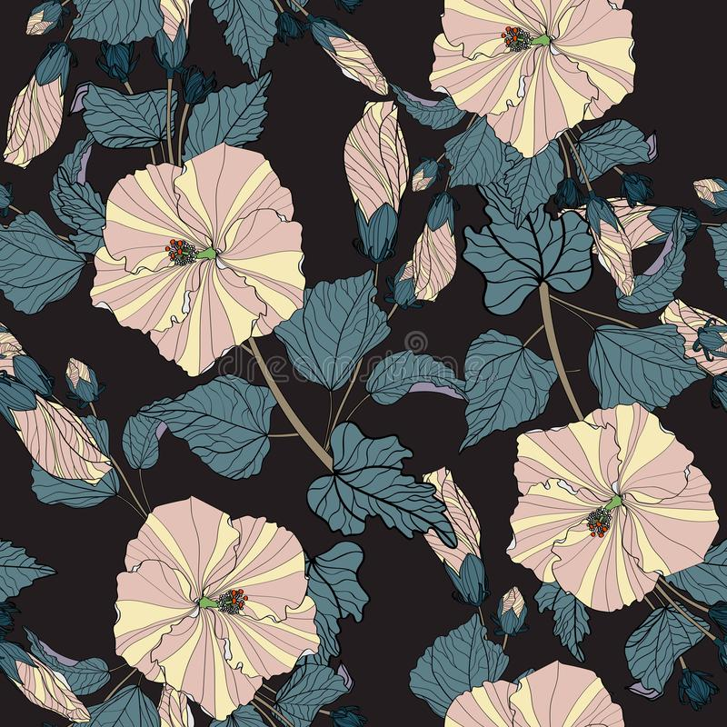 Flower pattern. Large flowers of hibiscus, various plants, leaves, buds form continuous lines. Dark pastel colors: beige, green, blue. Black background royalty free illustration