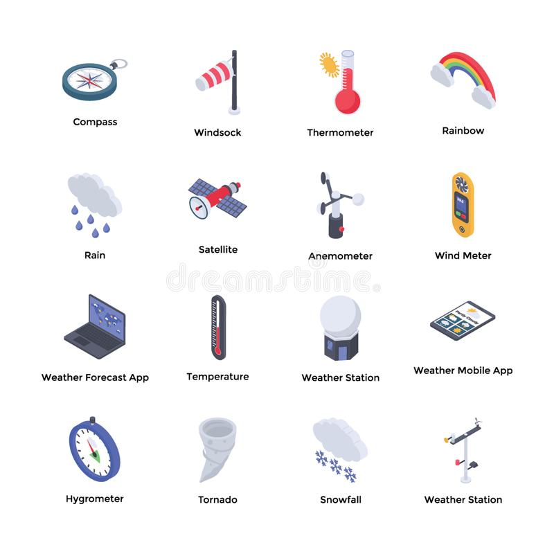 Weather Forecaster Icons. Isometric icons of weather forecaster is here to represent weather forecast tools and gadgets. Highly editable vectors for ready to use stock illustration
