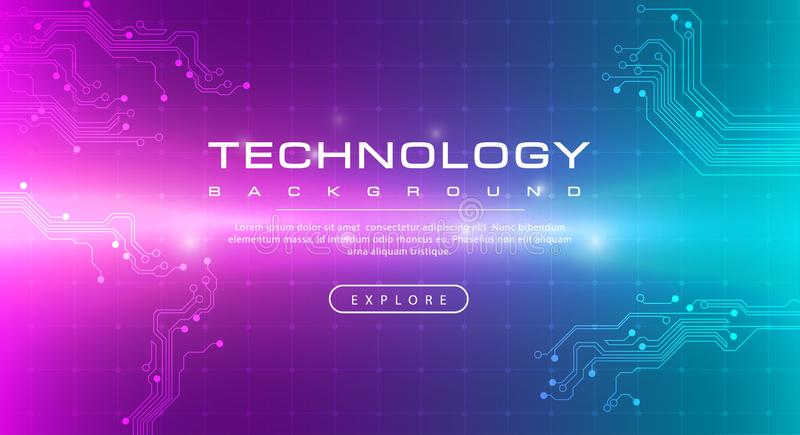 Technology banner pink green background concept with light effects vector illustration
