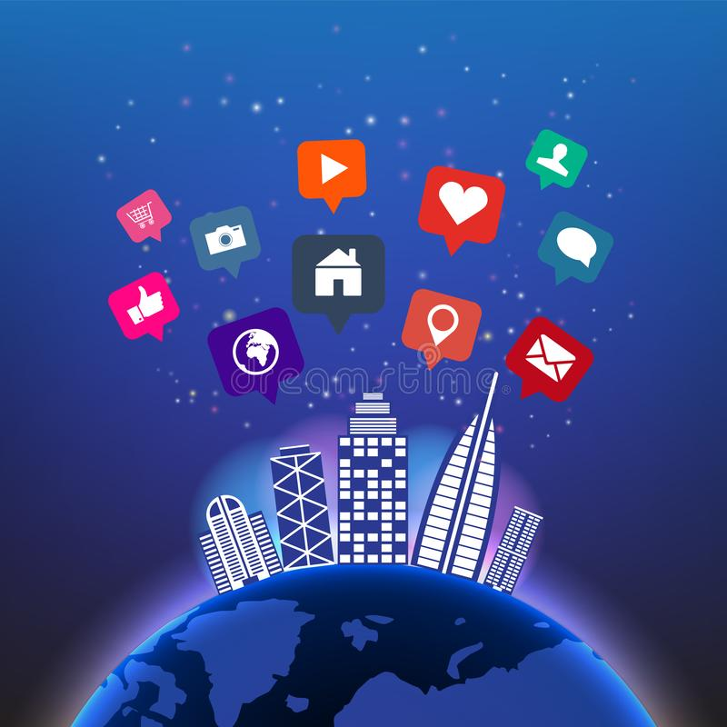 Abstract digital global technology in night sky with social media icons and building vector background.Network communications. vector illustration