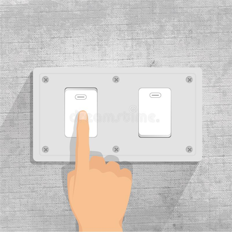 Light switch. finger pressing light switch button. gray background royalty free illustration