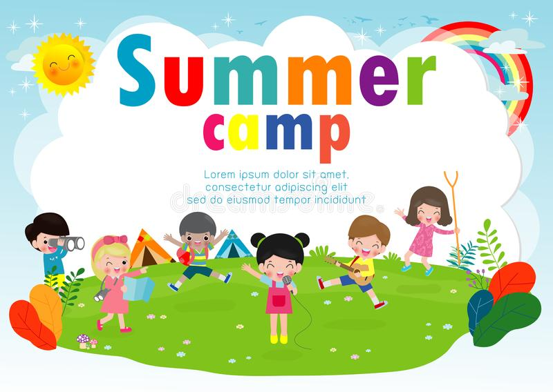 Kids summer camp education Template for advertising brochure, cute children doing activities on camping, boy scouts, poster flyer vector illustration