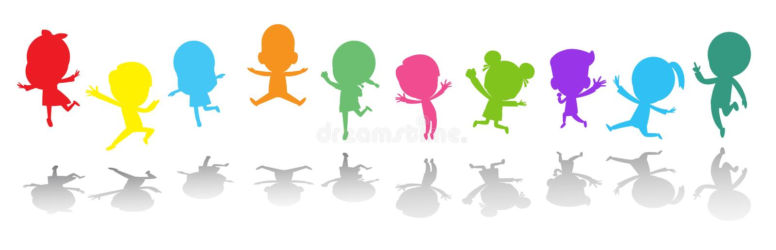 Cute kids playing jumping colorful ,Child silhouettes dancing, children silhouettes jumping on white background Vector. Illustration royalty free illustration