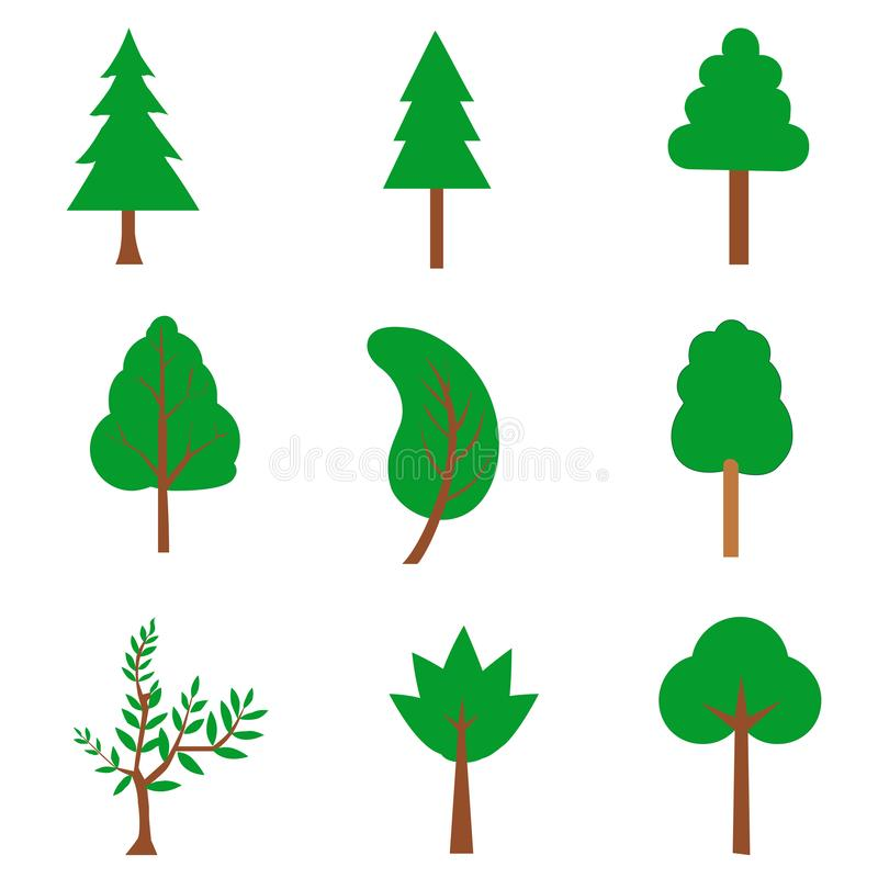 Vector Collection of trees illustrations. royalty free illustration