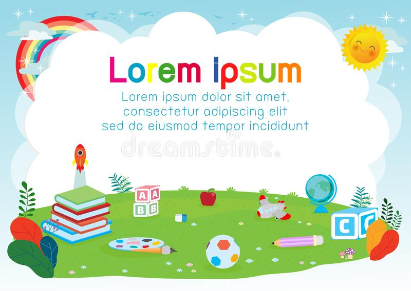 Back to school, education concept, school supplies on the grass, Template for advertising brochure, your text,Kids and frame vector illustration