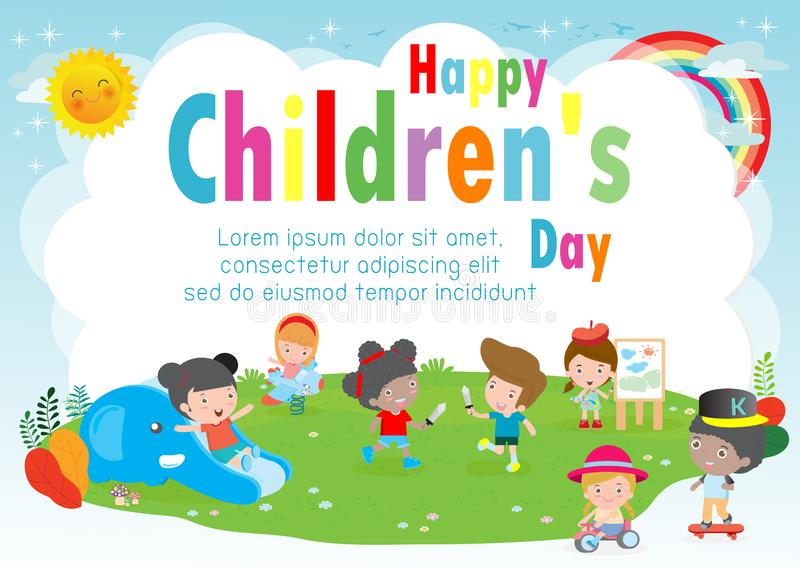 Happy children`s day background poster with happy kids playing in playground  vector illustration stock illustration