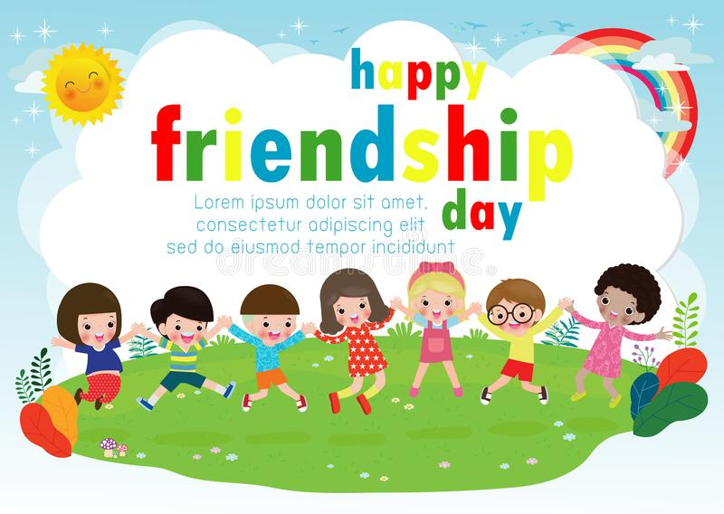 Happy friendship day greeting card with diverse friend group of Children Holding hands and jumping on a meadow. For special event celebration background poster royalty free illustration