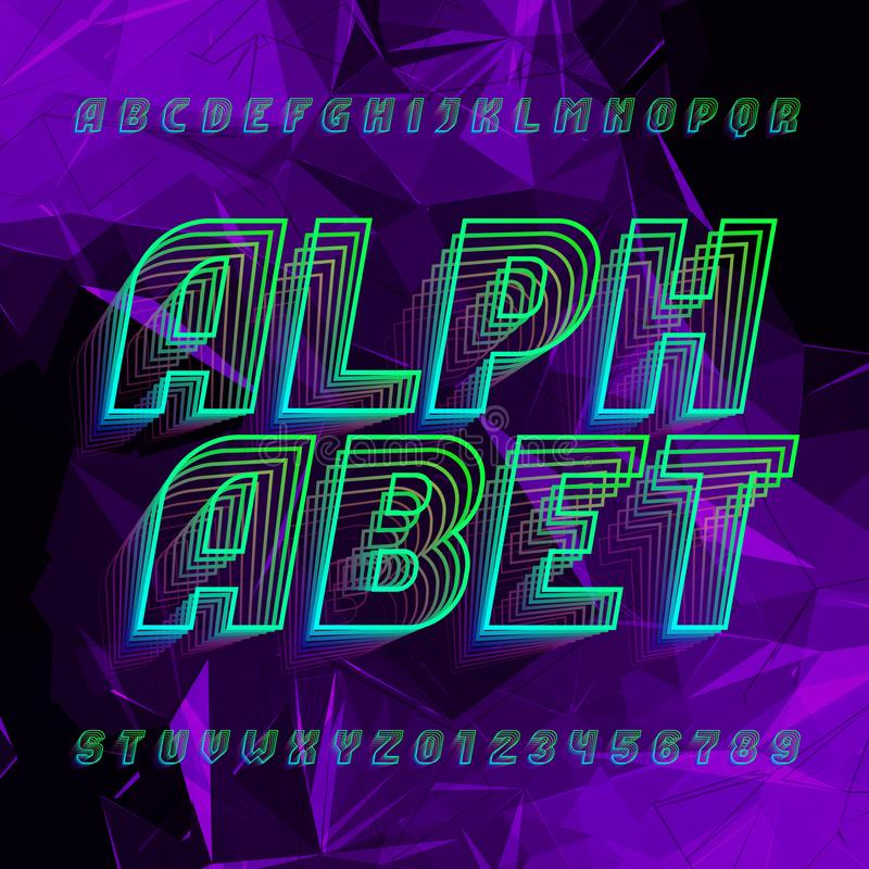 Abstract alphabet font. Uppercase letters and numbers in sport style on a polygonal background. vector illustration
