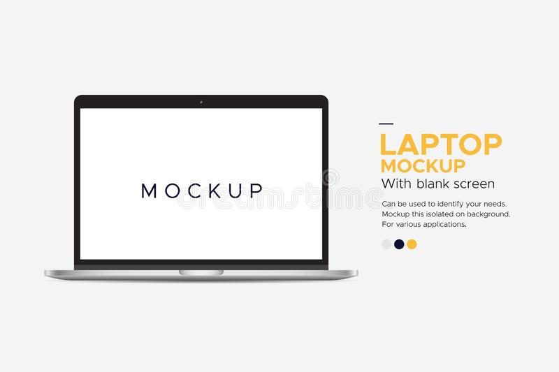 Laptop imac mockup banner with blank screen isolated on background. Can be used to identify your needs. Mockup this isolated on background.For various vector illustration
