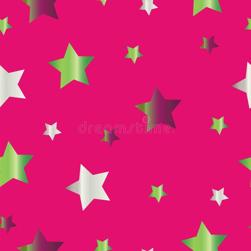 Seamless pattern with colorful stars vector on pink background. Star pattern vector royalty free illustration
