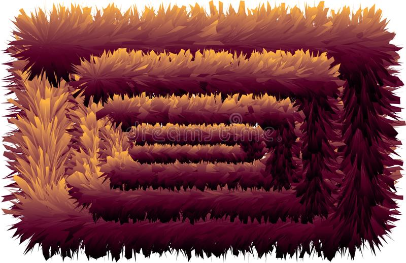 3D colorful hairy line without end. 3D colorful hairy texture line without end royalty free illustration