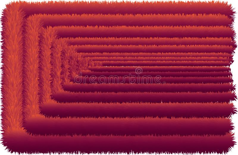 3D colorful hairy line end. 3D colorful hairy texture line without end vector illustration