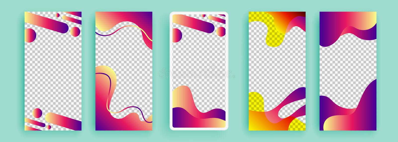 Trendy editable template for social networks stories, vector illustration. Design backgrounds for social media. Trendy editable template for social networks stock illustration