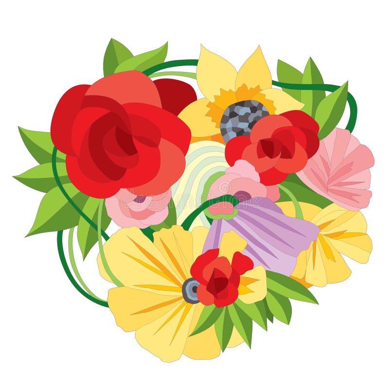 Floral decorative element on white background. vector illustration