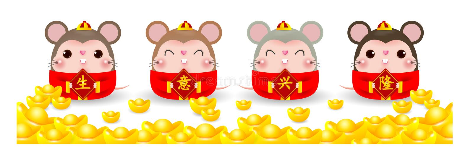 Four little rats holding a signs with Chinese gold, Happy new year 2020 year of the rat zodiac. Cartoon vector illustration royalty free illustration