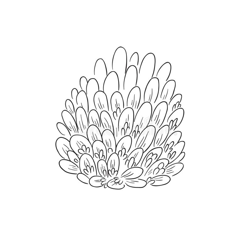 Black Line Art Red Clover Flower. In Hand Drawing Vector Art. the red clover or Trifolium pratense stock illustration