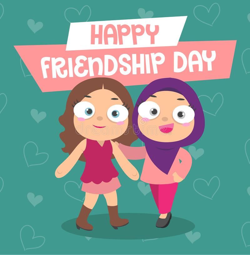Happy Friendship Day. Two girls posing together during the friendship day. One girl with hijab is Malay and the other is a Chinese girl. They are best friend royalty free illustration