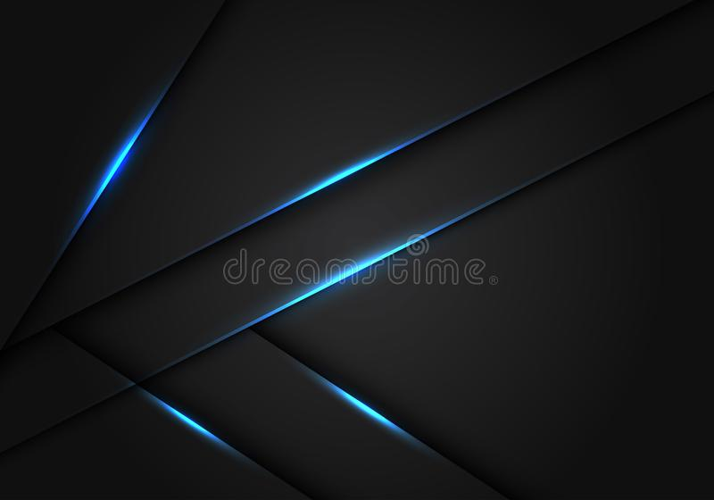 Abstract blue light dark grey metallic overlap design modern futuristic technology background vector. Illustration stock illustration