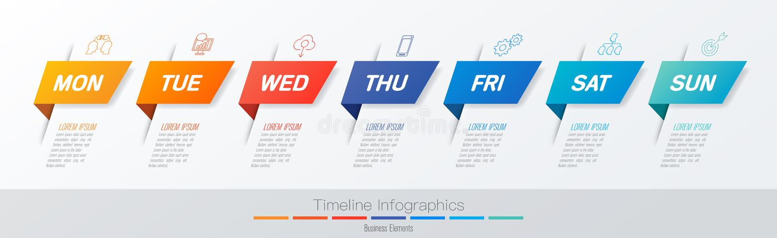 Weekly timeline infographics design vector and marketing icons, Business concept with 7 options, steps or processes. royalty free illustration
