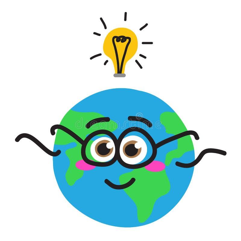 Light Bulb With People Inside Logo: Planet Earth In Light Bulb Cartoon. Stock Vector