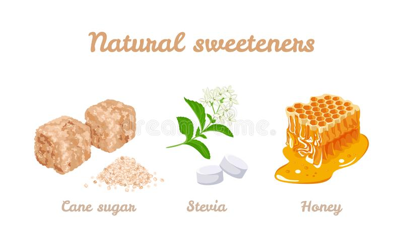 Natural sweeteners set. Vector stock illustration of honey, stevia plants and pills. Brown cane sugar cubes and sugar pile royalty free illustration
