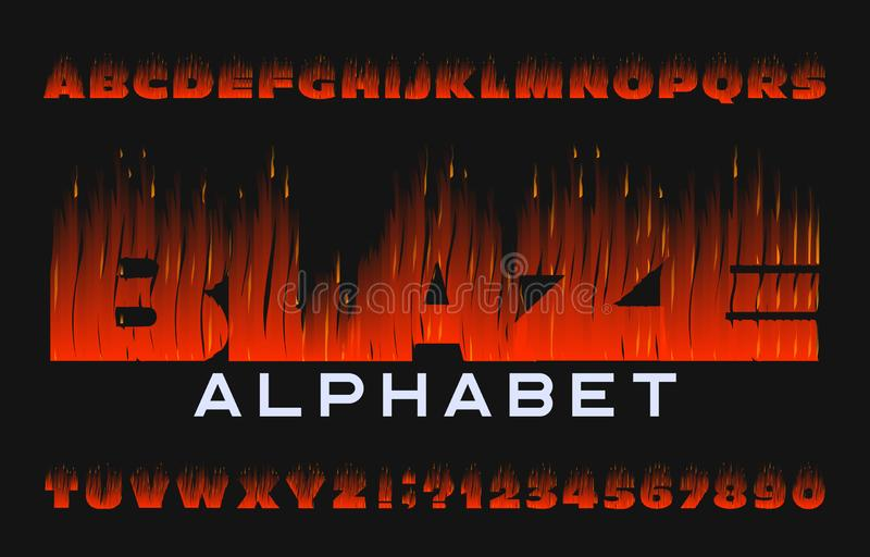 Blaze alphabet font. Flame effect type letters and numbers on dark background. Stock vector typeface for your design stock illustration