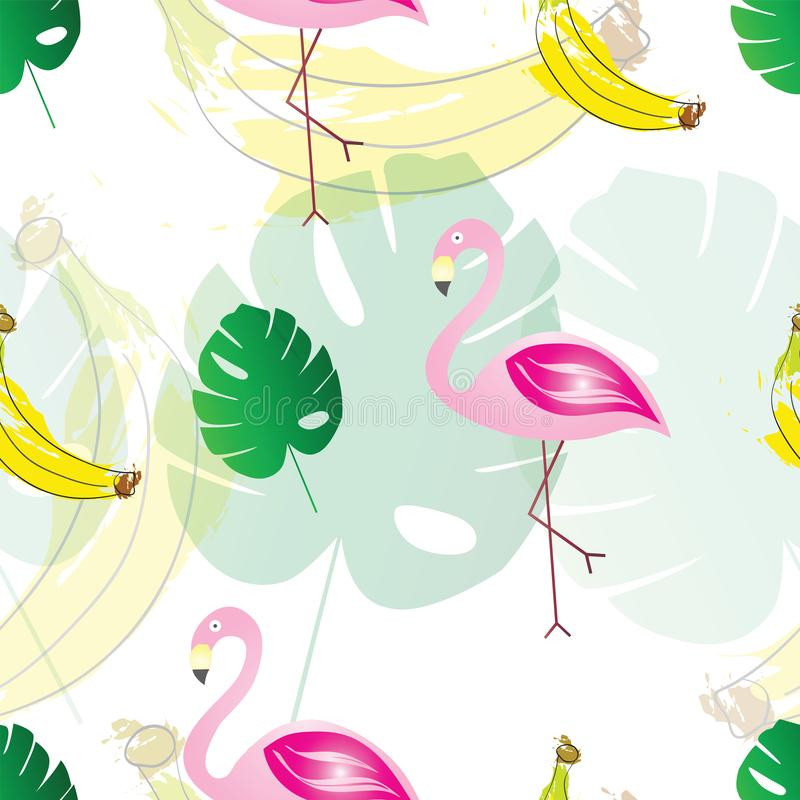 Seamless pattern with flamingos bananas and exotic tropical leaves - summer theme. White background stock illustration