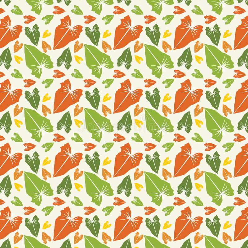 Print Vector Abstract Leaves Pattern Large and small stock illustration