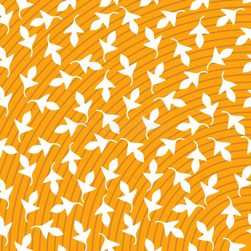 Print Vector Abstract Yellow background white leaf vector illustration