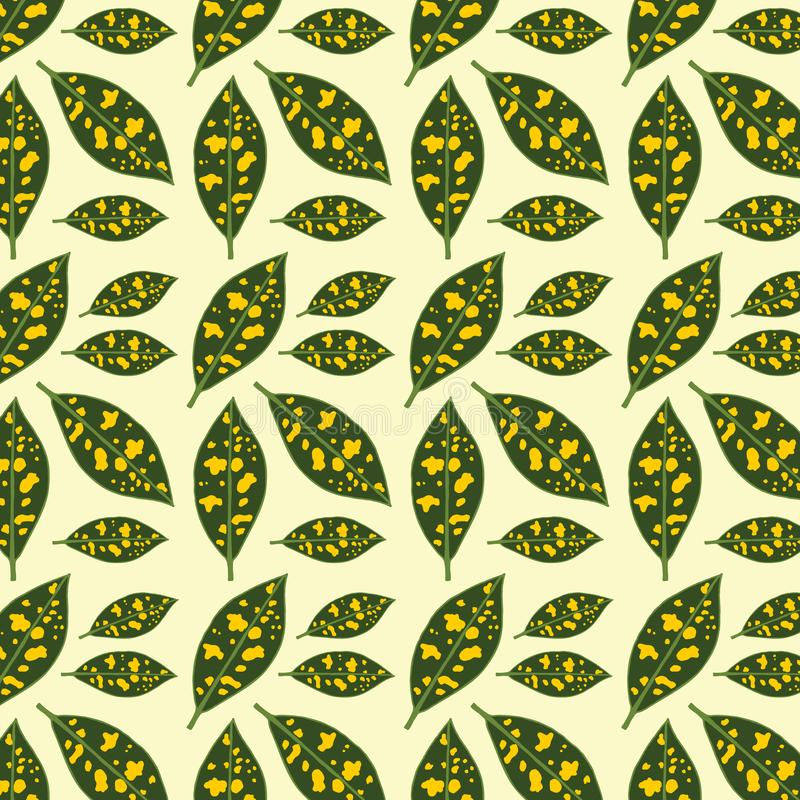 Abstract Leaf Print Pattern Vector yellow green motif stock illustration