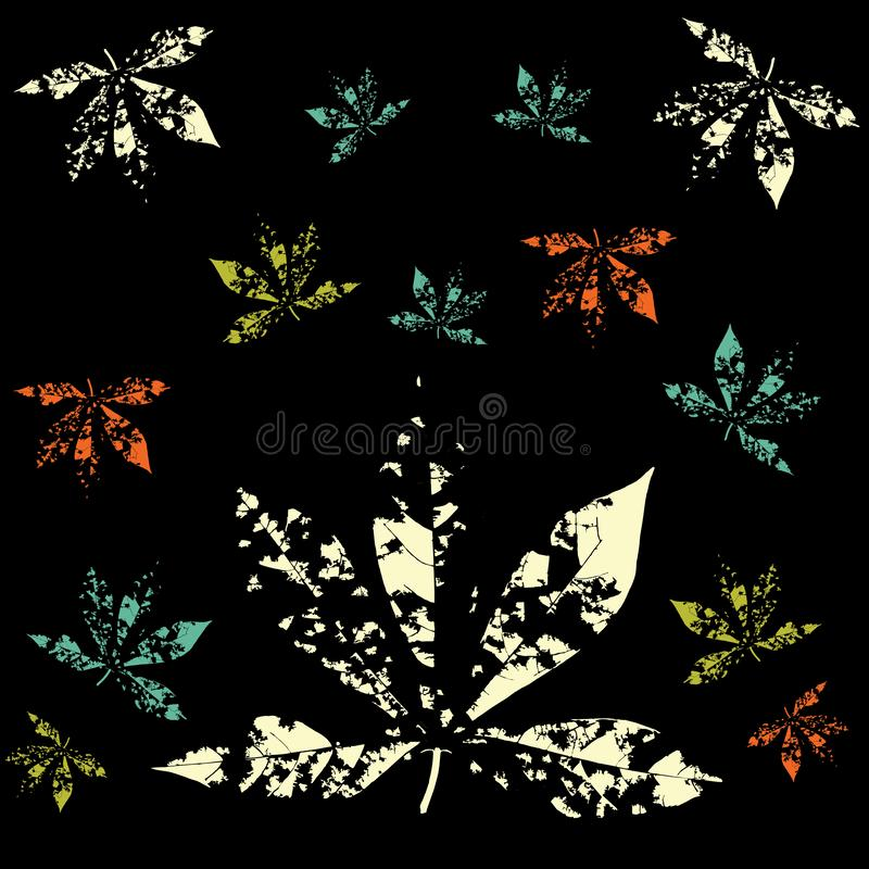 Print Abstract Leaves Pattern Vector black background royalty free illustration