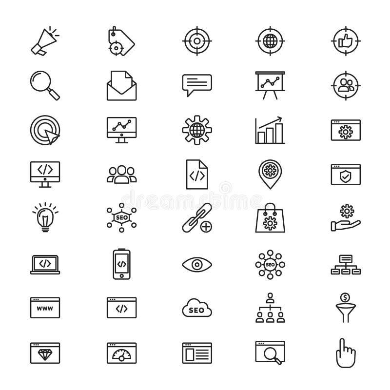 SEO outline icons set design stock illustration