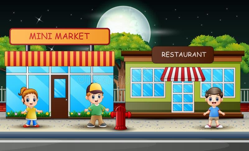 Cartoon Scene Children Walking Street Stock Illustrations ...