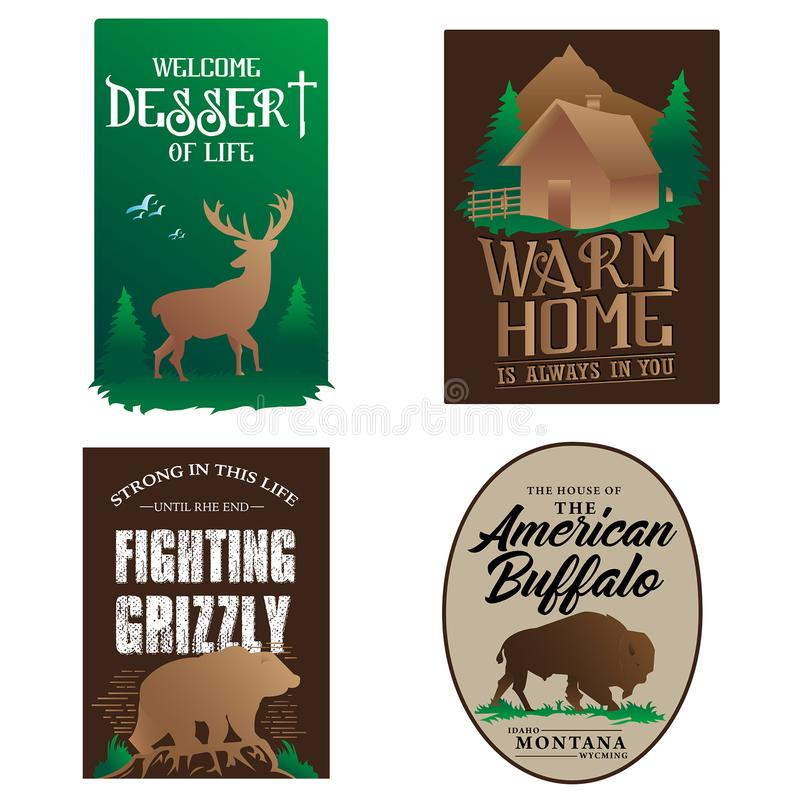 Badges  animal and icon stock illustration