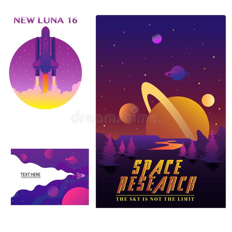 Space gradient Badges Modern art Design stock illustration