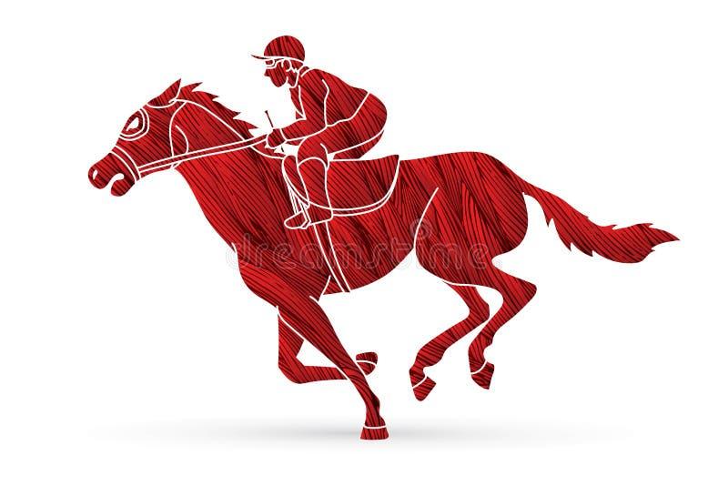 Jockey on horse, Horse racing cartoon graphic vector illustration