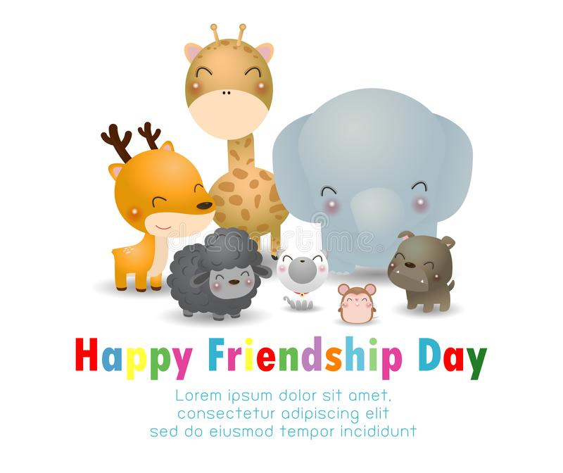 Happy friendship day greeting card with diverse friend group of best friend animals Deer, elephant,dog,cat,rat,giraffe,sheep stock illustration