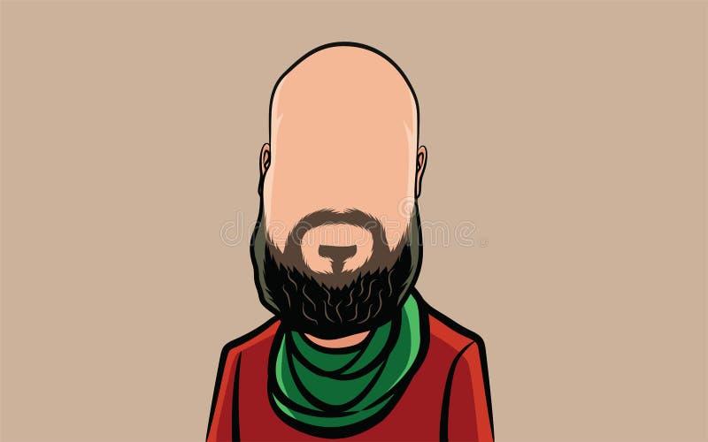 Cartoon portrait of half body people, big head vector illustration