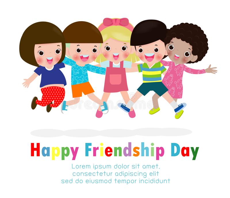 Happy friendship day greeting card with diverse friend group of children jumping and hugging together. For special event celebration background poster Template stock illustration