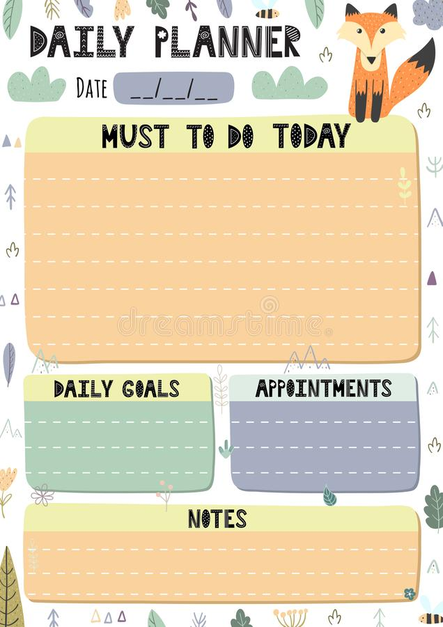 Daily planner with a cute fox. Printable template in A4 format for organising your day royalty free illustration